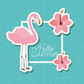 こんにちは夏と休暇のステッカーデザイン