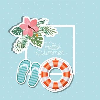Привет лето и отпуск дизайн наклейки
