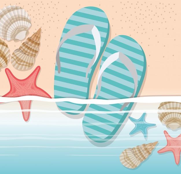 Летние шлепанцы в пляжном дизайне