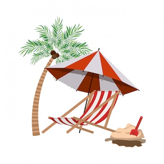 ビーチパラソルストライプとヤシの木