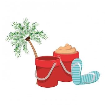 白のココナッツとヤシの木