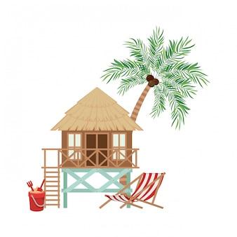ビーチの木の家