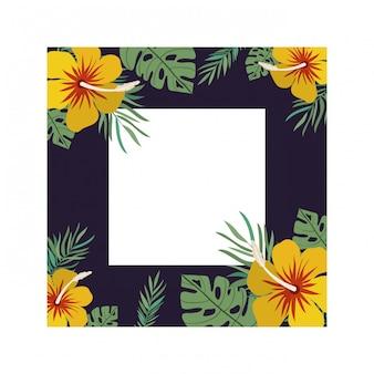Рамка с цветком и листьями