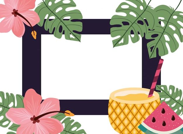 Рамка из вкусных тропических фруктов