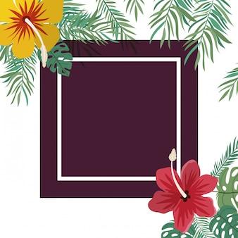 花と葉を持つフレーム