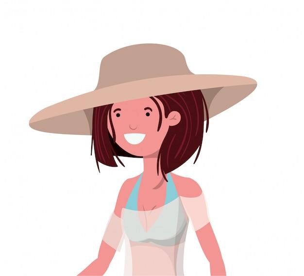 白の水着を持つ若い女