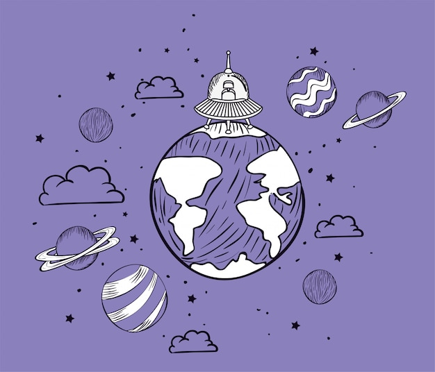 Нло и планета рисуют
