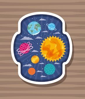 縞模様のラベルの上の惑星