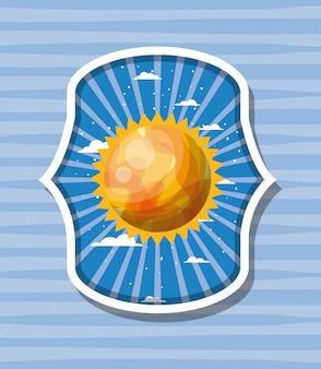 縞模様のラベルの上の太陽