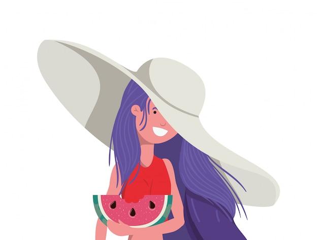 Женщина с купальником и порцией арбуза в руке