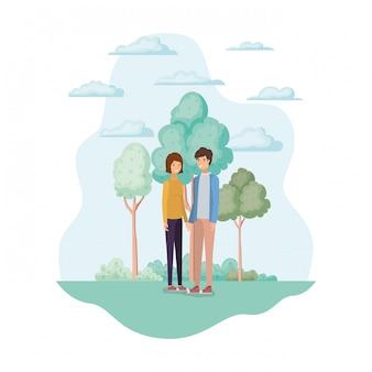 Женщина и мужчина в парке