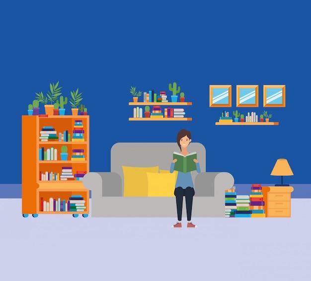 Домашний кабинет с книгами