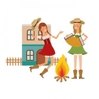 楽器を持つ農民女性