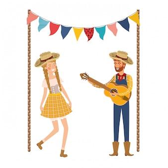 楽器と農民カップル