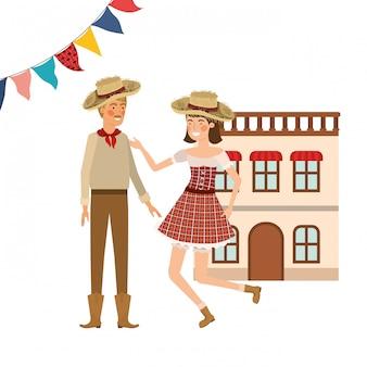 農民カップルのダンス