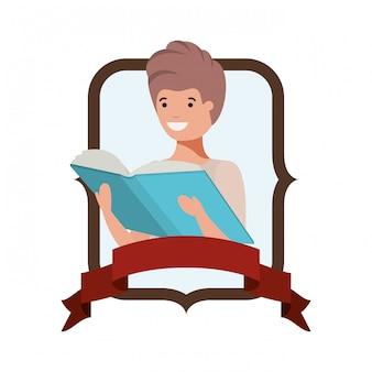 学生の少年と本を読んでフレーム
