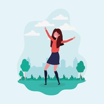 公園でジャンプのアバターの女の子