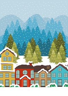 雪景色のシーンで都市都市