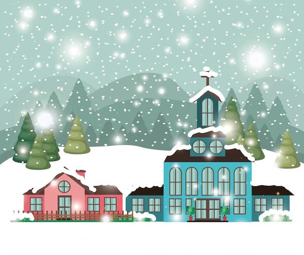 雪景色の教会のある街