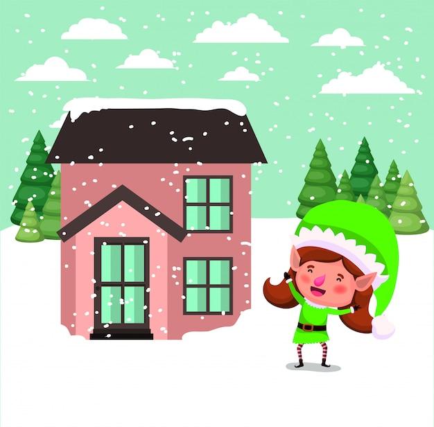 雪景色の家とサンタヘルパーエルフ