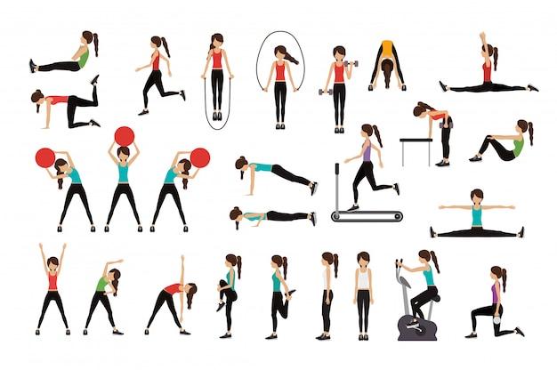 Женщина делает упражнения векторные иллюстрации