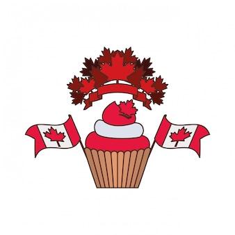 カップケーキとカナダのシンボル
