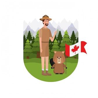 Бобровое животное и смотритель канады