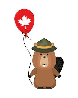 カナダのビーバー森の動物