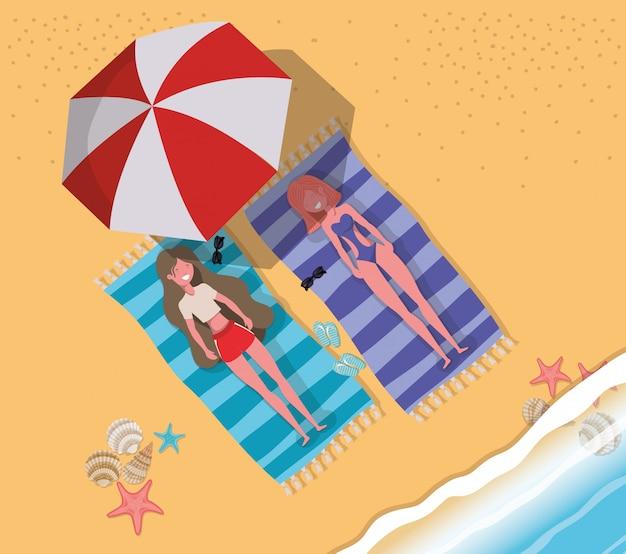 水着で日焼けしている女の子