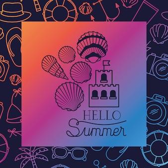 こんにちはフレーム付き夏カード