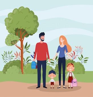 Учитель пара с маленькими учениками детей в ландшафте