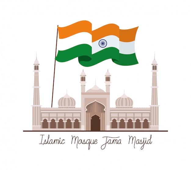 Индийский джама масджид храм с флагом