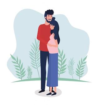 Милые любовники пара символов беременности в ландшафте