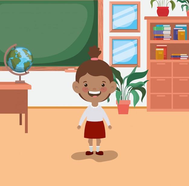 教室でアフロ学生の女の子