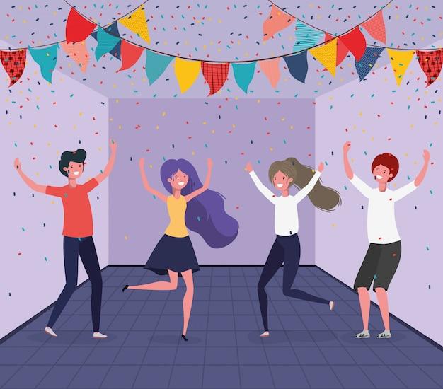 若者が部屋で踊る