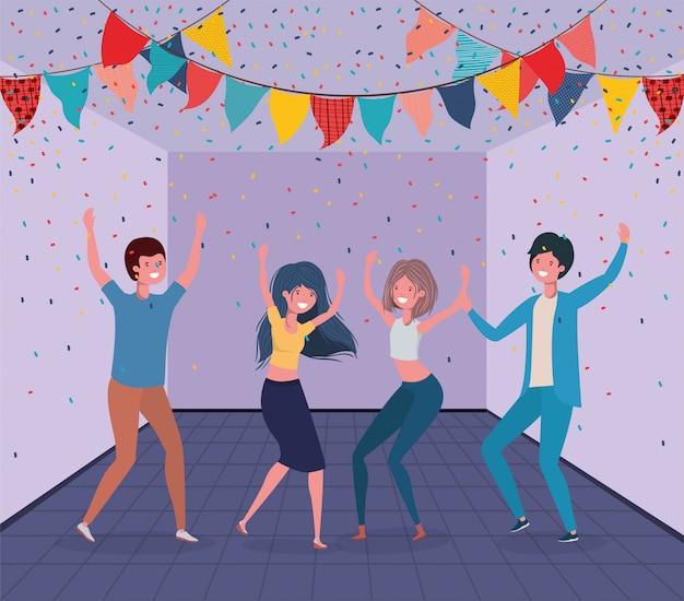 Молодые люди танцуют в комнате