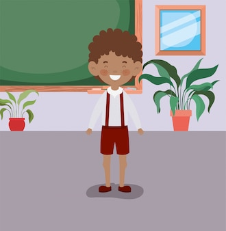 教室でアフロの小さな男の子