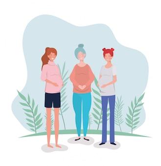 風景の中のかわいい女性の妊娠