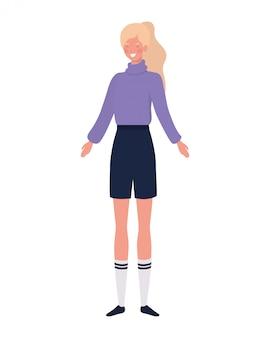 白の上に立っている若い女性
