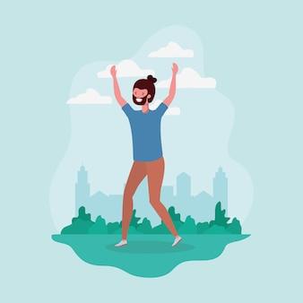 Молодой человек с бородой прыгает в парке персонажа