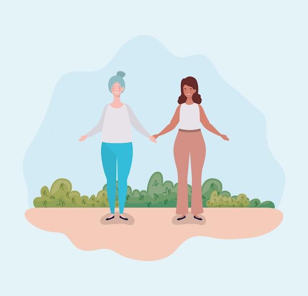 キャンプに立っている若いカップルの太った女性