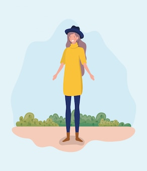 トップハット立っているキャンプで若い女性