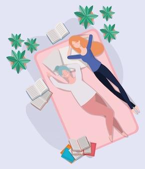 若い女性が寝室のマットレスでリラックス