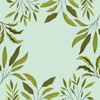 緑の葉の自然なフレーム装飾