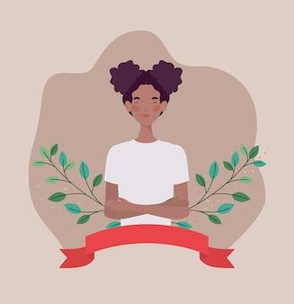 フレームリボンと葉を持つ若いアフロ女性