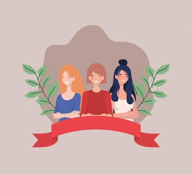 リボンと葉で立っている女性のグループ
