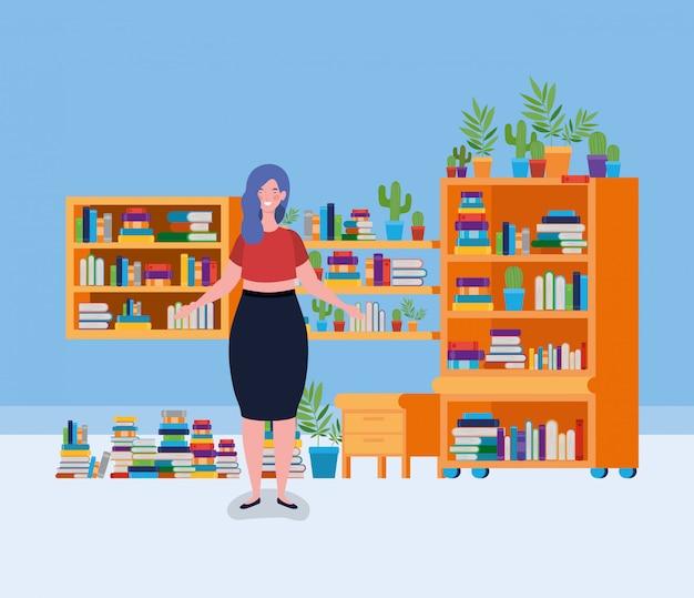 Молодая толстая женщина, стоящая в библиотеке