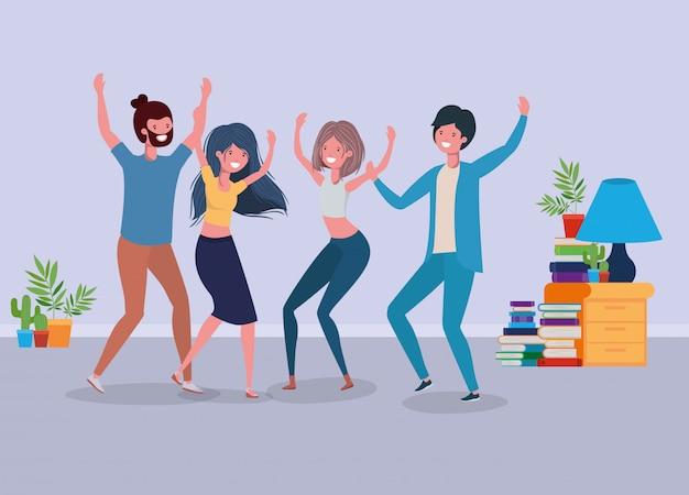 若者がリビングルームで踊る