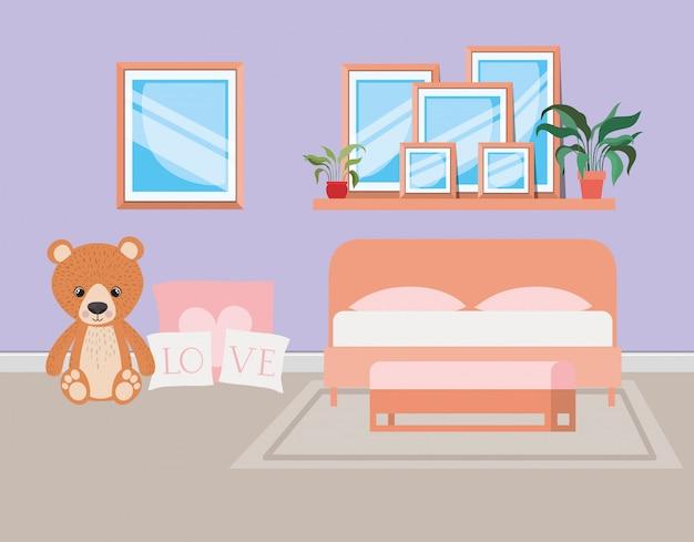Красивая спальня комната дома сцена
