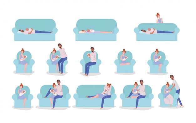 Родители ухаживают за новорожденным ребенком на диване